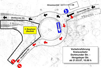 Bild zum Artikel: Geänderte Verkehrsführung am Kreisverkehr Dortmunder Straße