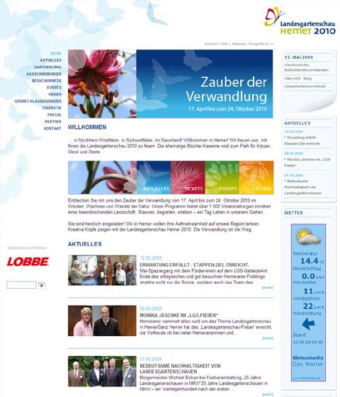 Bild zum Artikel: Neue Homepage der Landesgartenschau Hemer 2010 GmbH